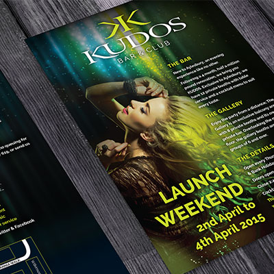 Kudos Bar and Club Graphic Design for Print Holly Small Design